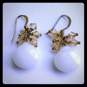 Anthropologie White Stone Beads Dangle Earrings